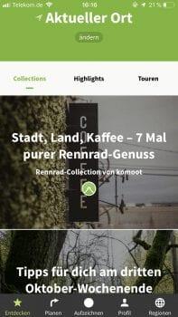 Komoot App zum Wandern